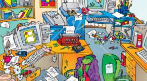 Messy-office-with-clutter-on-the-desks-and-floors